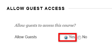 allow guest access pop up with yes and no radio button options
