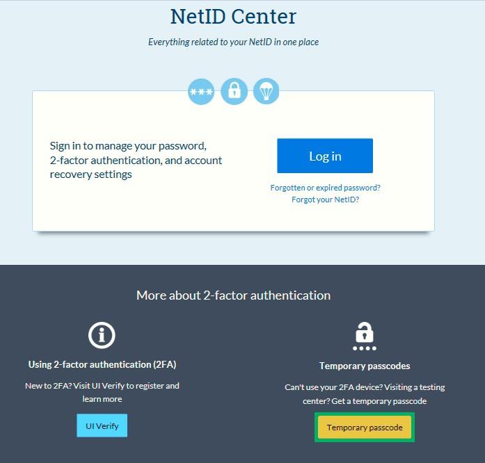 the netid center screen