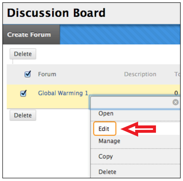 example discussion board screen showing listing and panel to select edit option