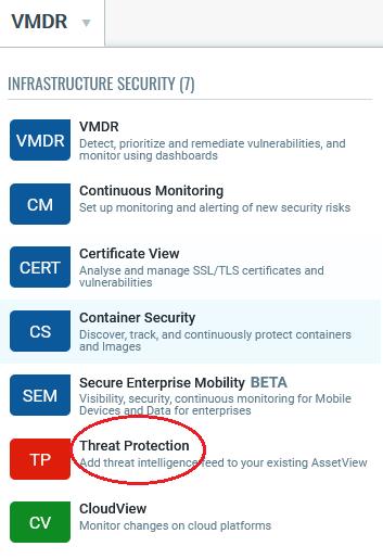 The V M D R drop-down menu highlighting Threat Protection