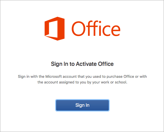 mac office sign in intro screen