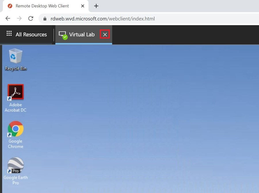 Remote Desktop Web Client screen All Resources with resource tab showing x icon to log out