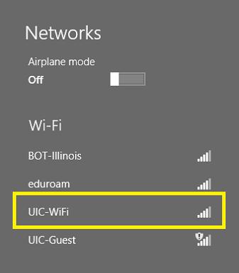 where to find U I C wifi in networks screen