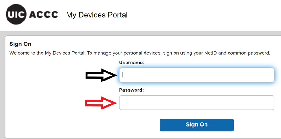 My devices portal sign on