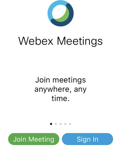 Webex app start screen