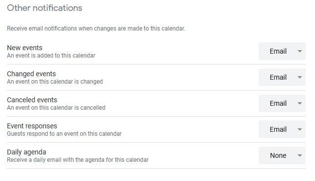 Google Calendar Other Notifications settings