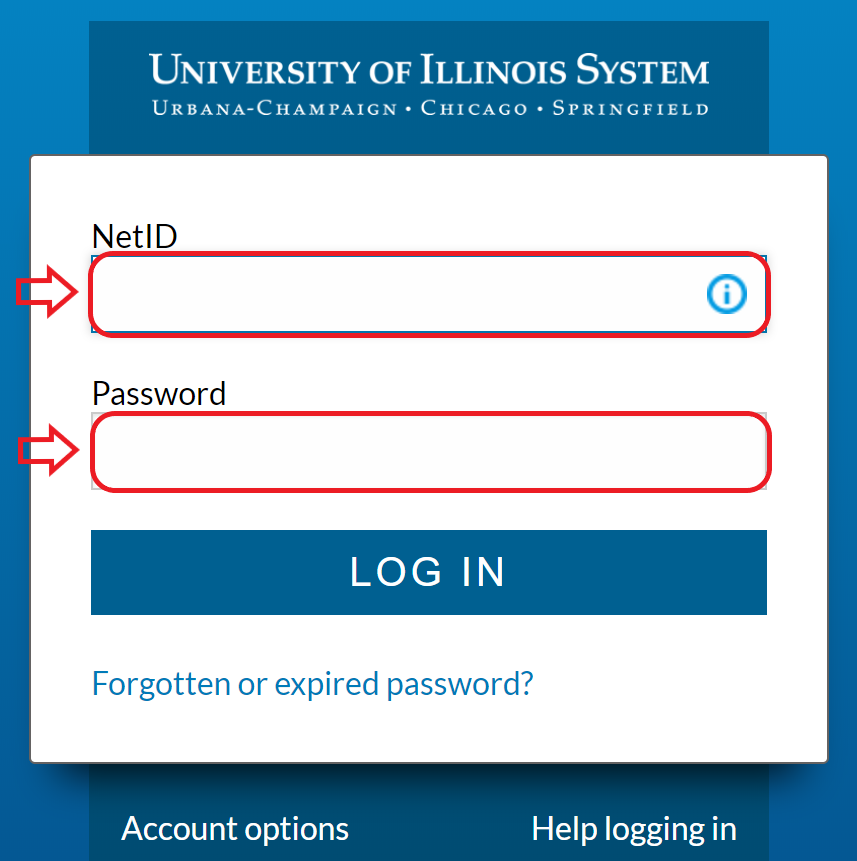 University of Illinois System Log In page