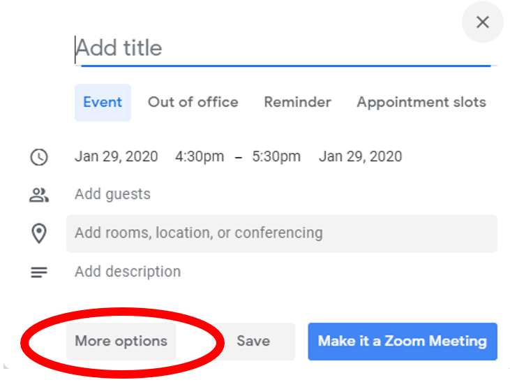 google event pop out window highlighting more options button