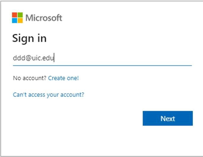 microsoft sign in screen with field for U I C email address