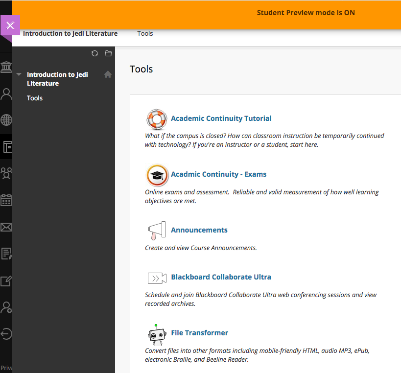 example course tools view