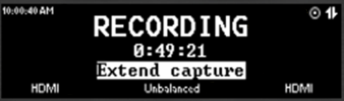 example of the front panel with the Recording message