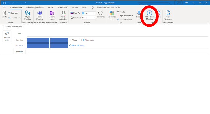 outlook interface with Add a Zoom meeting button in the navigation bar