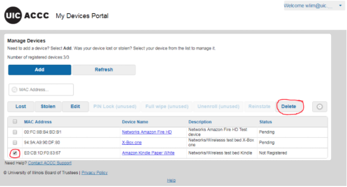 how to delete device in portal