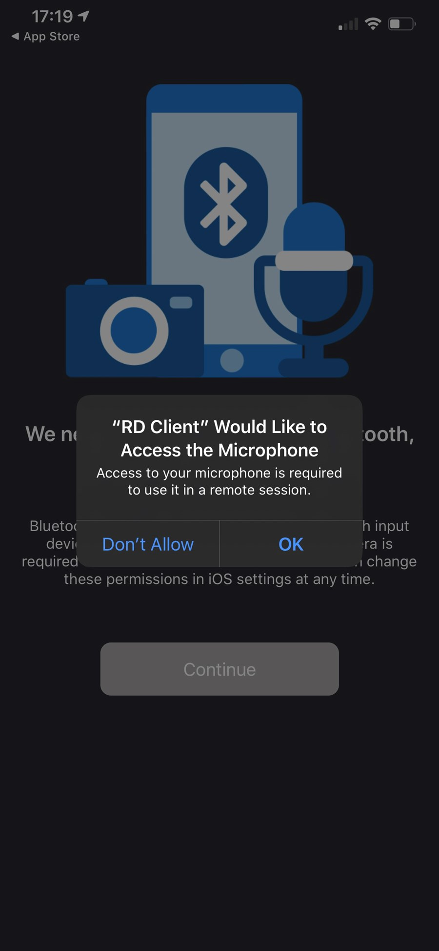 screen asking to confirm access to microphone with don't allow or OK buttons