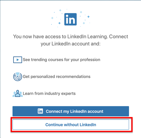 Click continue without linked in
