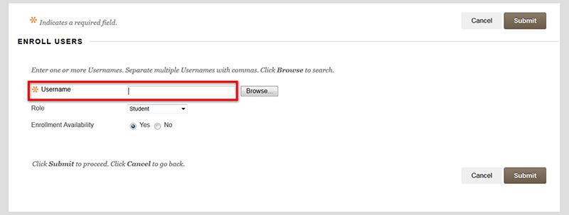 example Enroll Users blackboard screen highlighting the username field