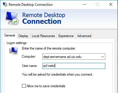 remote desktop general tab