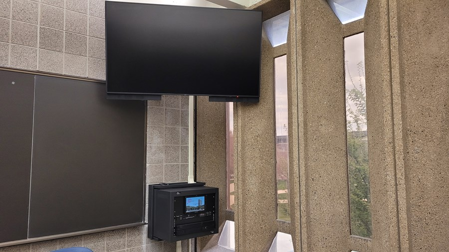 example plug & play system with a monitor connected to a wall mounted control panel