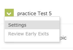 screenshot of settings option in dropdown