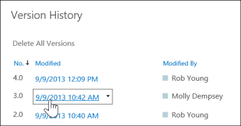 version history showing multiple versions with one highlighted for selection