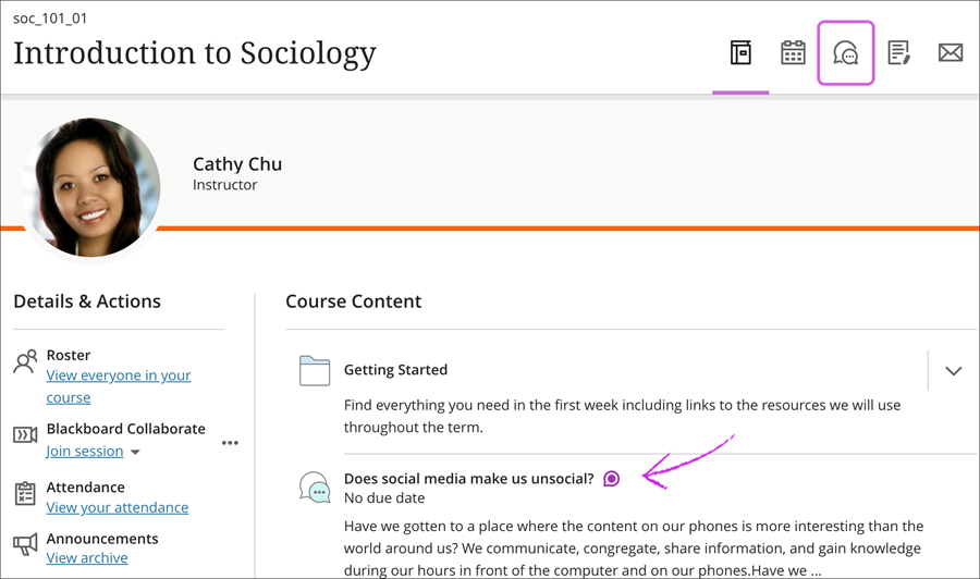 Ultra Course View with course title, Instructor name, Details & Actions, highlighting discussion in the course content section and the discussion button in the top right navigation