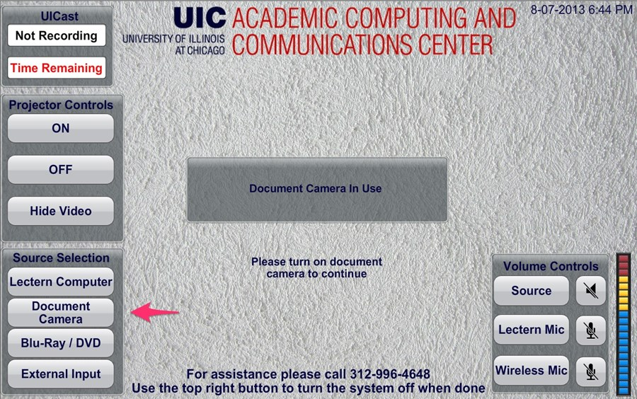 document screen identifying the document camera button in the menu