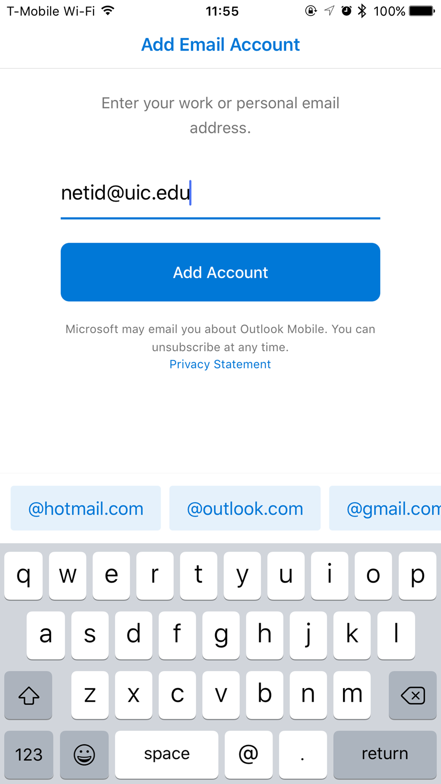 add email account screen showing field to enter your U I C email