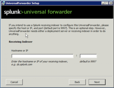 splunk receiving Indexer screen