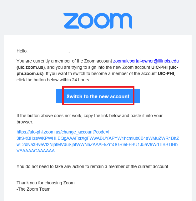Zoom Open Email Page