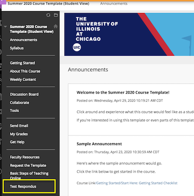 example test course template highlighting Test Respondus option in at the bottom of the left navigation