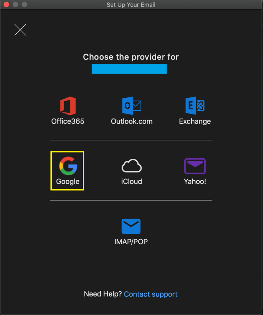 Google e-mail account icon highlighted in yellow