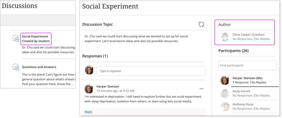 """example main discussions page showing a listing with name and """"created by student"""" and author"""