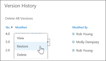 Version History dialogue box showing restore option in the drop down