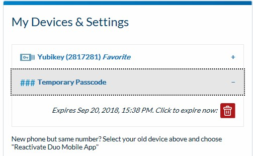 example my devices and settings screen