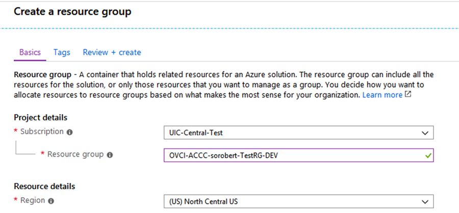 example basics tag for create a resource group
