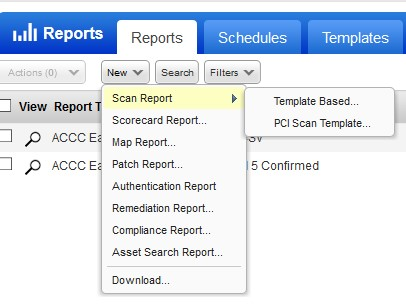 showing reports drop-down highlighting scan report