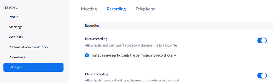 Screenshot showing the Settings interface, Recording tab