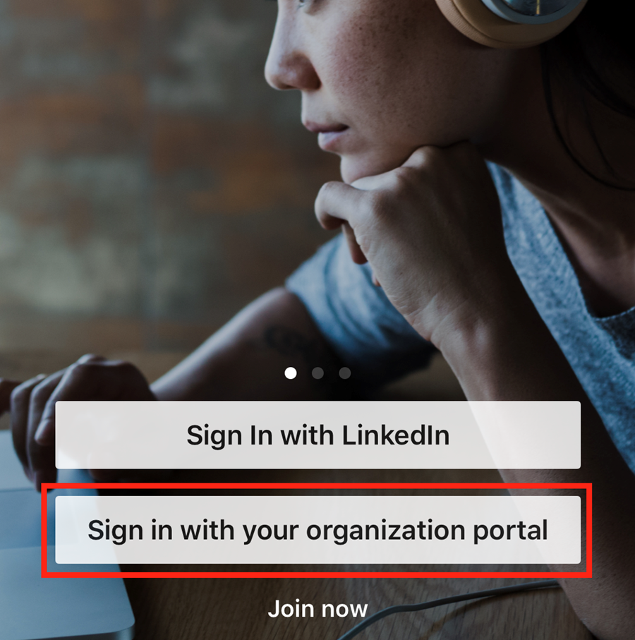 Click sign in with your organization portal