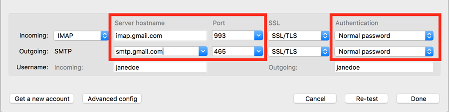 return to server hostname and authentication settings
