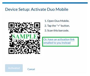 activation link emailed