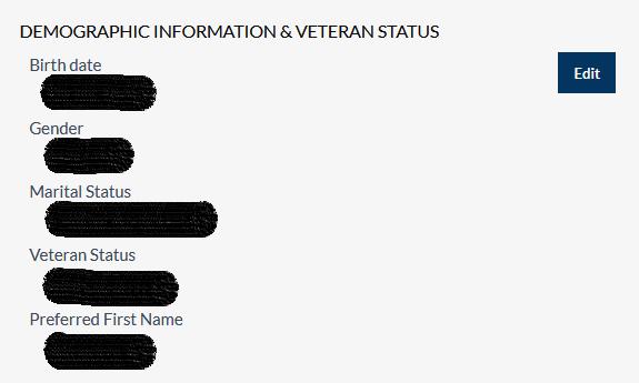 demographic info and veteran status screen