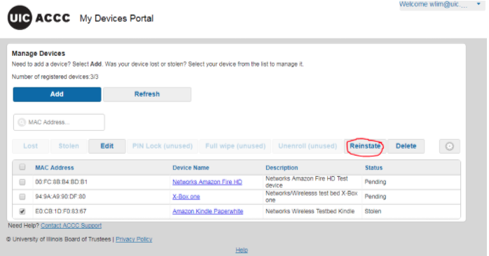 where to find reinstate button