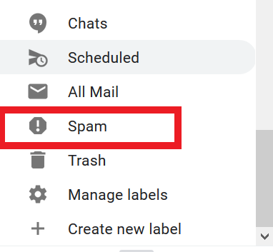 identifying the spam button in the menu