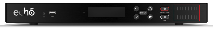view of the front of the echo 360 device highlighting the audio meter