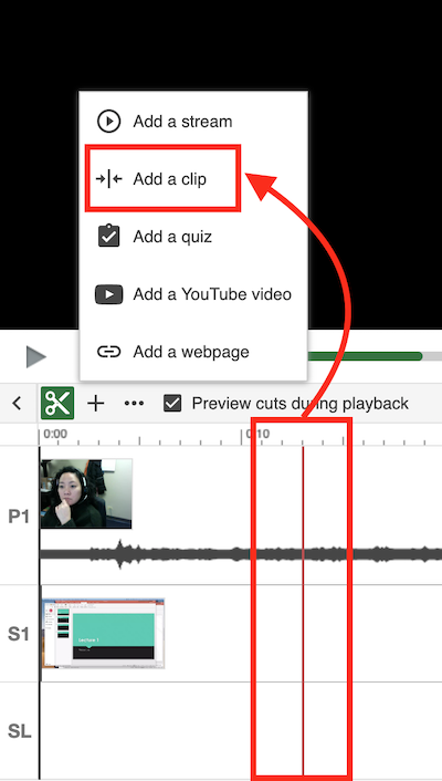 timeline menu showing the add a clip option and highlighting point in video timeline where it will be added.
