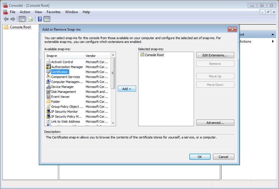 select certificates in MMC