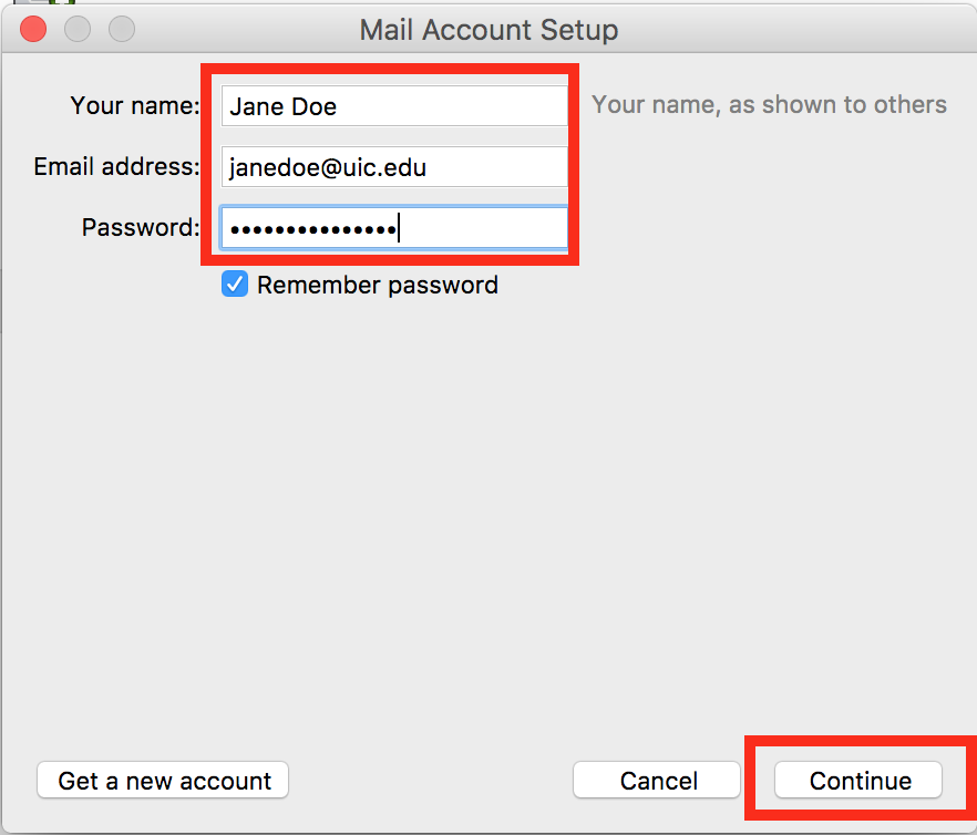where to enter name, email and password