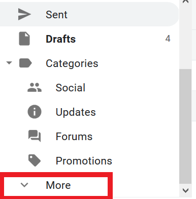 identifying the more button in the mail menu