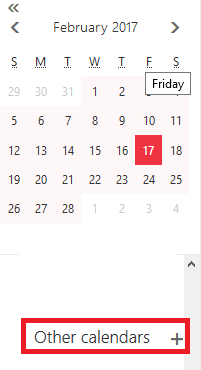 Other calendars button