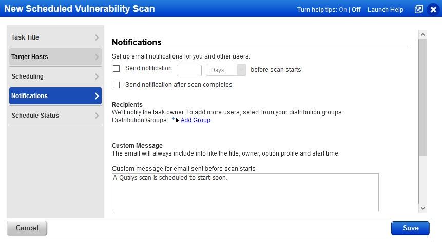 example notification screen